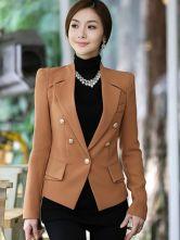Stylish Light Tan Optic Fabric Shaping Notch Collar Buttons Long Sleeves Women's Blazer $44.99 #milanoo