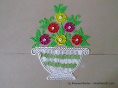 Flower pot rangoli using fork | Innovative rangoli designs by Poonam Borkar - YouTube