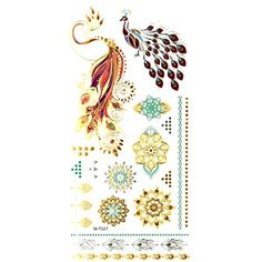 Oottati Assorted Metallic Temporary Tattoo Gold Silver Peacock Phoenix Flower (2 Sheets) -- You can find out more details at the link of the image. (This is an affiliate link and I receive a commission for the sales) #Makeup