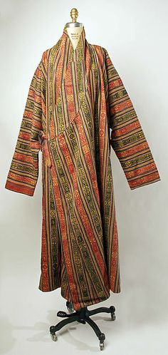 Bhutanese Robe: used in the himalayan mountains as a daily wear, these were robes that were tied to the left then extra fabric was left in the front and flopped over so that they could use the front as a pouch to keep their things, kind of like a purse, usually worn with high white socks and black shoes