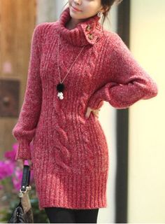 Fashionable Turtleneck Loose-Fitting Long Sleeve Dress For Women