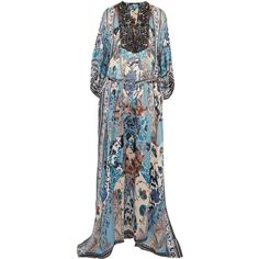 ROBERTO CAVALLI   Lace-up bead-embellished printed silk-georgette maxi... ($1,435) ❤ liked on Polyvore featuring dresses, blue maxi dress, multi-color dress, multi colored maxi dresses, multi coloured dress and multi color maxi dress