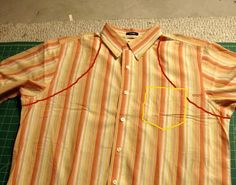 men's shirt apron   men's shirt into apron... can think of some friendys to make this for!