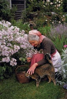 I am in love with Tasha Tudor all over again. I aspire to be like her. (Tasha Tudor with Minou) The Tudors, Vie Simple, Amor Animal, Foto Poster, Tier Fotos, Cat People, Farm Life, Country Life, Country Living