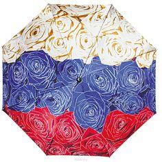 Зонт женский Flioraj Гордость империи, автомат, 3 сложения, белый, синий, красный