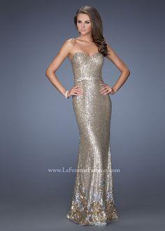 la femme prom dresses 2014 | ... Long Prom Dresses :: Sparkly Gold Silver La Femme 20039 Sequin Dress