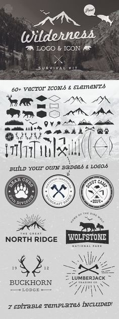 Free Wilderness Vector Graphics & Logo Template Kit