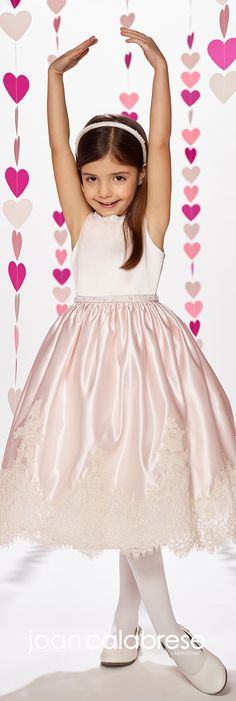 Joan Calabrese for Mon Cheri - Fall 2017 - Style No. 217381 - petal pink sleeveless satin tea-length flower girl dress with scalloped lace hemline