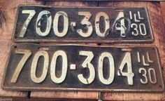 1930 matching pair Illinois License Plates Antique & Vintage Bicentennial 1976 Illinois License Plates Red White and ...