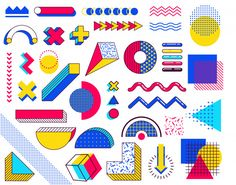 Set of memphis design elements. abstract trends elements with multicolored simple geometric shapes. shapes with triangles, circles, lines Premium Vector 90s Design, Shape Design, Free Design, Pattern Design, Design Design, Memphis Design, Geometric Shapes Design, Geometric Art, Memphis Pattern