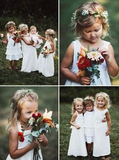 Flowers girls dressed for a casual, backyard wedding. Perfect.