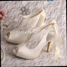 Price tracker and history of Wedopus Designer Cream Lace Wedding Shoes High  Heels Ladies Plain Upper Heels Dropship e6b42a7ff54c
