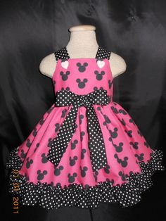 Disney, Minnie Mouse, Hot Pink and Black  Dress, for Babies, Toddlers, and Girls, sizes, 6 mo thru girls sz 8, from MY Princess and Her Doll on Etsy, $39.95