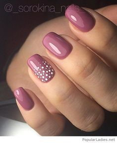 Rose nails with white polka dots