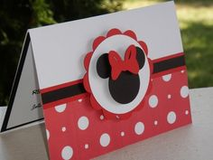 MINNIE MOUSE Red and White Polka Dot Cards for Sophias party