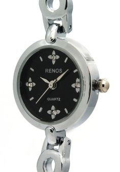 Renos Noble Black Crystal And Flower Analogue Quatz Women Watches