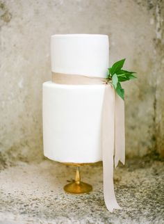 Wedding cake with simple ribbon