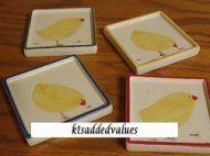 Farmhouse Chicks Stoneware Coaster Set Chicken Hen