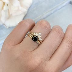 Westcott Round Cut Black Diamond Ring - Gem Breakfast Round Cut Diamond, Black Diamond, Diamond Rings For Sale, Ring Stand, Alternative Engagement Rings, White Gold, Gems, Fancy, Breakfast