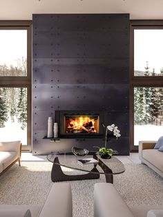 Easy Operation and low emissions - the Focus SBR is EPA 2020 certified at an emission rate of Metal Fireplace, Cabin Fireplace, Modern Fireplace, Fireplace Ideas, Fireplace Design, Wood Burning Insert, Tile Projects, Central Heating, Heating Systems
