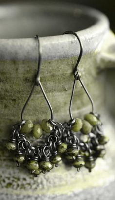 Jewelry OFF! Boho Earrings Lovely Green Faceted Chrysoprase Focals With a Collection of Picasso Washed Green Czech Glass Rondelles on Oxidized Raw Copper. Metal Jewelry, Boho Jewelry, Jewelry Crafts, Beaded Jewelry, Jewelry Design, Boho Necklace, Jewlery, Jewelry Ideas, Artisan Jewelry