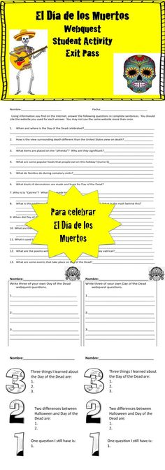 Have students investigate El Dia de los Muertos with this webquest.  Included are common core aligned student activities.