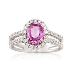 C. 1990 Vintage 1.60 Carat Pink Sapphire and .65 ct. t.w. Diamond Ring in 14kt White Gold. Size 7.5