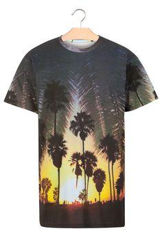 Tee-shirt imprimé Noir by ELEVEN PARIS palm california Eleven Paris, Graphic Tees, T Shirt, Palm, Mens Tops, Cotton, California, Shopping, Sleeve