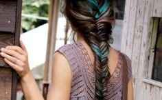 love the light colors with the dark hair. looks perfect with a fish tail braid. My Hairstyle, Pretty Hairstyles, Brunette Hairstyles, Braided Hairstyle, Simple Hairstyles, Wedding Hairstyles, Love Hair, Gorgeous Hair, Watercolour Hair