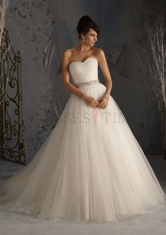 Elegant A-Line Sweetheart Empire Waist Beading  Satin Wedding dress WD-9817