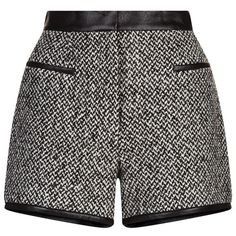 Carven Tweed Shorts ($290) ❤ liked on Polyvore featuring shorts, high-rise shorts, high-waisted shorts, high waisted shorts, highwaist shorts and high rise shorts