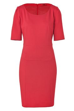 vestido rojo, recto, manga corta
