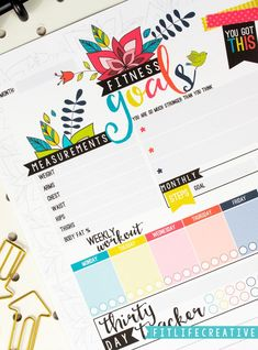 How do you keep track of your monthly fitness goals?   The Life Organized printable planner comes with pages to track your monthly fitness goals, measurements, steps, weekly workout schedule and even includes a 30 day tracker that you can use to track habits or challenges.