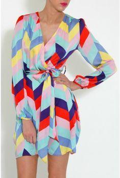 Multi-Coloured Geometric Print Wrap Dress
