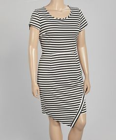 Black & White Stripe Cap-Sleeve Dress - Plus