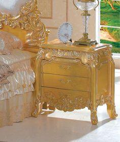 Italian tufted Gold Leaf Furniture Bedroom Luxury Furniture