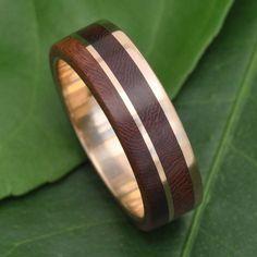 Yellow Gold Un Lado Asi Wood Ring - ecofriendly 14k recycled gold wood wedding…