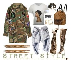 """Street Style"" by adswil ❤ liked on Polyvore featuring Louis Vuitton, Marc Jacobs, Erickson Beamon, Yves Saint Laurent and Napier"