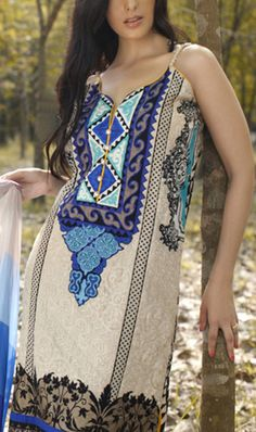 Buy Cream Embroidered Cotton Lawn Dress by Firdous Carnival Collection 2015.