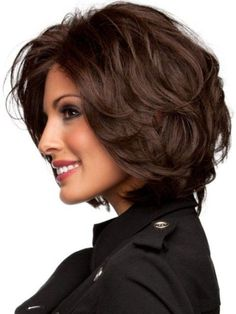 Layered hairstyle for thick hair with slight waves