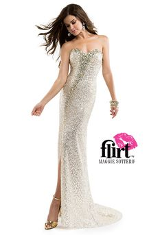 Flirt Prom's sweetheart sequin dress with jewels down the front bodice meeting at the right slit, and double hook & bar cutout back closure.