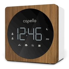 Capello Digital Alarm Clock With Sound Machine Black Larch