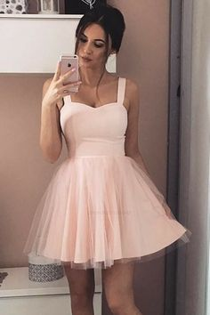 Hoco Dresses, Event Dresses, Pretty Dresses, Beautiful Dresses, Dress Prom, Light Pink Homecoming Dresses, Party Dress, Short Pink Prom Dresses, Light Pink Dresses