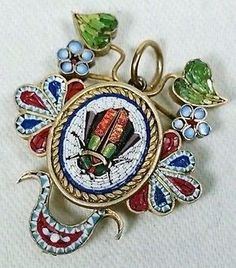 Micro Mosaic Egyptian Revival Scarab Beetle Antique Victorian Pendant