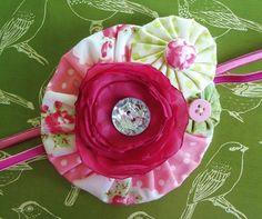 Fabric Flower Stretch Headband Button - by theshoparoundthecorner on madeit