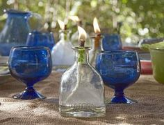 Make oil lanterns from empty Patron bottles. Cool. :)