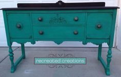 Recreated Creations turquoise blue antique buffet