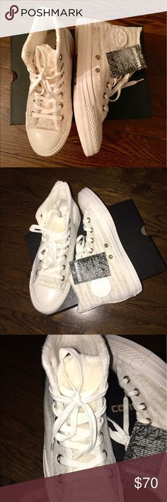 NWT Converse Chuck Taylor Sneakers with Fur NWT!  Authentic Converse High Tops with Plush lining all over on the inside. So soft and warm!  Tongue has a thicker pile of faux fur and exterior is like a thin knit. Size 8 women's. Converse Shoes Sneakers