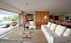 Sala de Estar Clean / Madeira / Branco / varanda