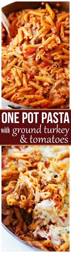 One Pot Pasta with Ground Turkey and Tomatoes – Light, yet hearty and cheesy pasta dish with ground turkey and tomatoes. A one-pot, easy meal that's perfect for any night of the week. (pasta meals for two) Ground Turkey Pasta, Dinner With Ground Turkey, Ground Turkey Casserole, Beef Casserole, Pasta Dinner Recipes, Recipes With Penne Pasta, Pasta Recipes With Ground Beef, Easy Ground Turkey Recipes, Pasta Meals